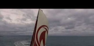 Dongfeng captured by drone   Volvo Ocean Race