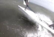 a RS Sailing Aero blast in gusts of 40 knots