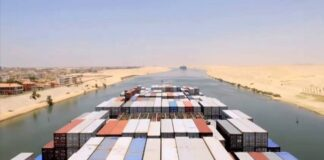 a Time lapse of sailing down the Suez Canal
