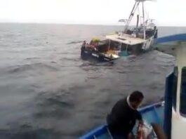 a Watch this fishing vessel sinking