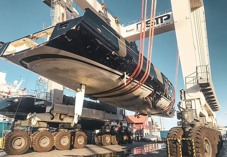 Update: damaged sailing yacht My Song hauled out in Palma 1
