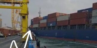 a Container Ship crashed into Crane