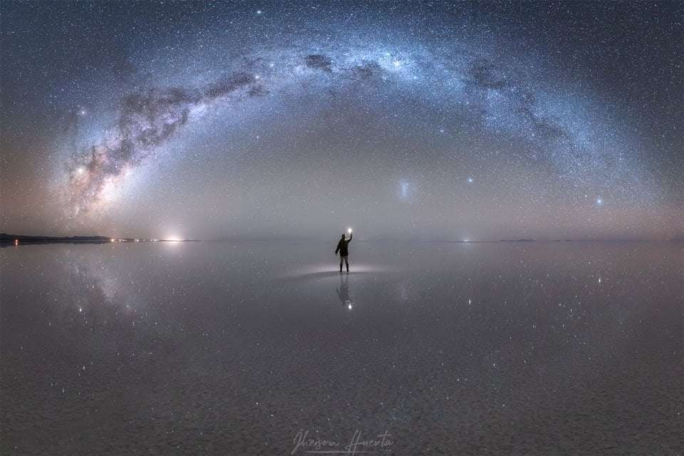 APOD: 2019 October 22 - Night Sky Reflections from the Worlds Largest Mirror 1