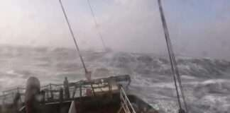 a Rough Sea with Huge Swell