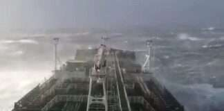 a Ship in Rough Sea