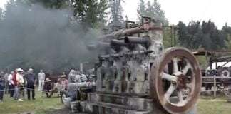 a Test Running of an Old Ship Engine