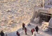a Crew Breaking Ice on a Frozen Ship