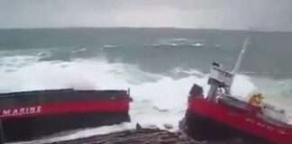 a Ship Snip in to Half in bad weather
