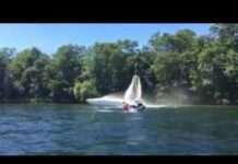 Flyboard extinguishes boat fire